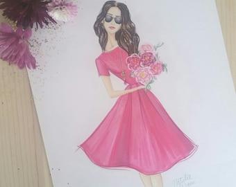 Fucshia Dress Fashion Illustration