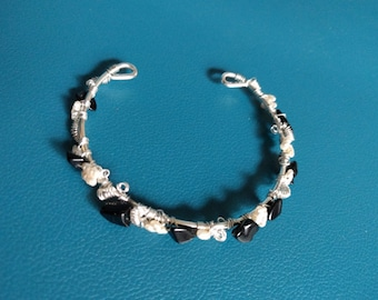Athena Bracelet - Black/Pearl Wire-Wrapped Cuff