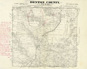 1870 Map of Denton County Texas