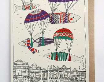 Parachutes Illustrated Card
