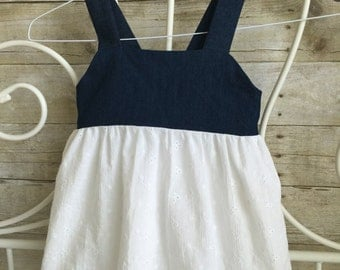 Payton Denim and Eyelet Tie Back Dress