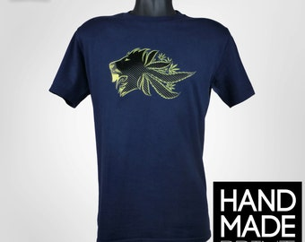 Weed Lion T-Shirt - Navy Blue Crewneck Mens Top, Lion 420 Leaf Design Available To Personalise - UK Urban Street Wear