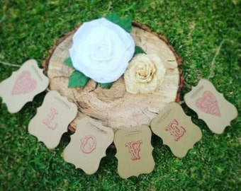 LOVE Banner - Cardboard, Twine, Pink Text, Hearts Wedding Decor