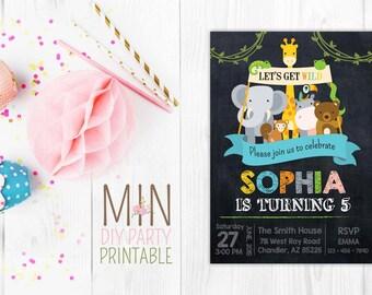 Cute zoo Invite_3,Safari Party Invitation,Jungle Birthday Invitation, Zoo Invitation, Safari Invitation,Jungle Party, Safari Invitation