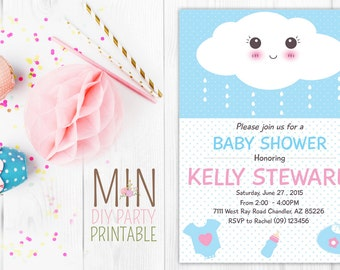 Cloud Baby Shower Invitation, Cloud Baby Shower Invitation , Baby Shower Invitation Girl