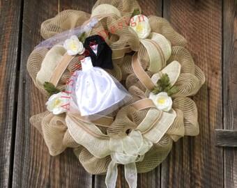 Burlap Wedding Wreath, jute wedding wreath,shabby chic, barn wedding decor