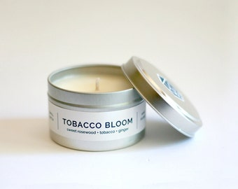 TOBACCO BLOOM Travel Tin Soy Candle - all natural soy candle, cotton wick, travel tin, vegan, rosewood and tobacco scented handpoured candle