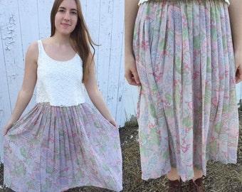 SUMMER CLEARANCE 1980s pink pleated skirt / vintage skirt / 80s skirt / chiffon skirt / vintage pleated skirt / medium
