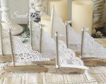 Petite Fleet of 2 White Lace Driftwood Sailboat Seaside Nautical Resort Decor Wedding Center Peice