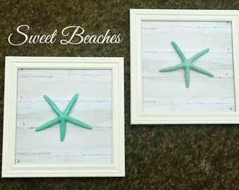 Set of 2 - 12 X 12 inch  Starfish Wall Decor  Beach Seaside Nautical Wall  Decor