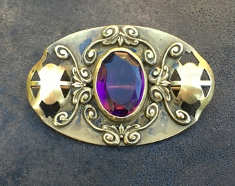 Victorian Czech brooch, brass with a large faceted amethyst glass stone. Art nouveau
