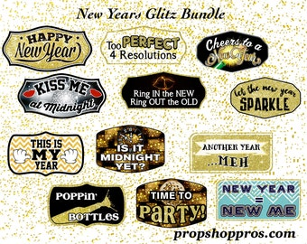 BEST SELLER | New Year's Photo Booth Props | New Year's Signs | Photo Booth Props | Prop Signs