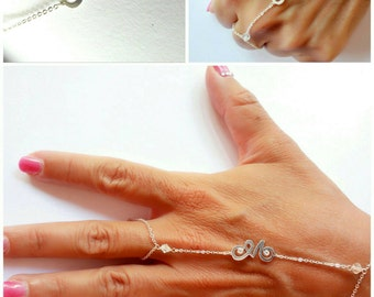Baciamano-ring bracelet-personalized with initial, pearls and swarovski