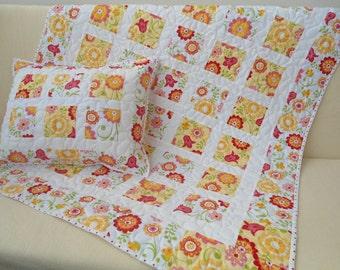 Patchwork quilt, girl quilt + pillow