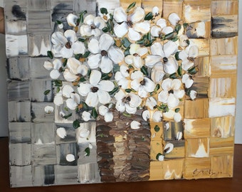 "Oil, 16""x20"", White Flowers of a Vase, Original, Oil painting on canvas."