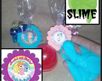 """Personalized Care Bears Surprise """"slime"""" Birthday Party Favors - set of 8"""