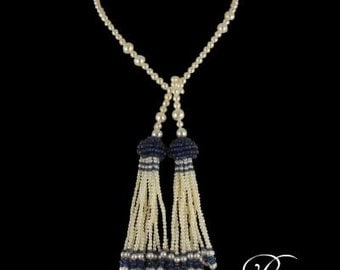 Necklace Pearl Sapphire modern