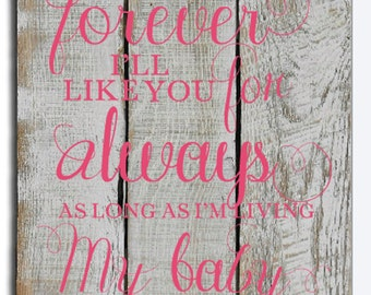 I'll Love You Forever I'll Like You For Always As Long As I'm Living My Baby You'll Be - Nursery Decor - Baby Girl - New Baby - Child's Room