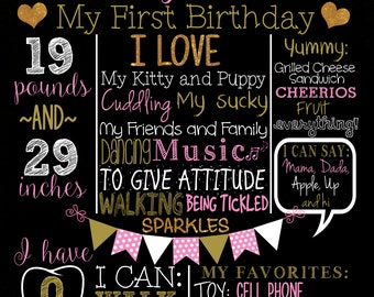 First Birthday Milestone Poster