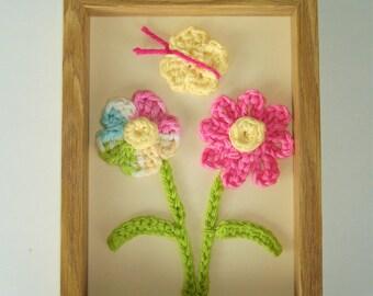 Children's Picture, Pink, Yellow, Blue, Green Flower Crochet Wall Hanging, Fiber Art, Children's Room Picture, Bedroom Picture, Child's Gift