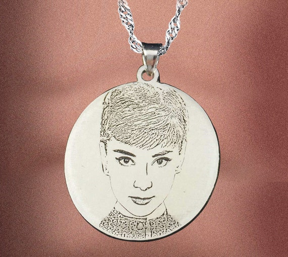 engraved photo necklace personalized silver necklace custom
