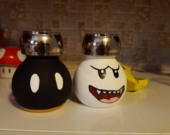 Custom Salt and Pepper Shakers - Mario Inspired ( Boo and Bob-omb )
