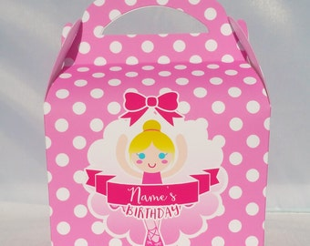 Ballerina Princess Personalised Children's Party Box Gift Bag Favour