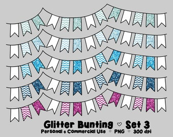Digital Bunting Clipart Commercial Use Clip Art Graphics Bright Glitter Flags Bright Glitter Chevron - Set 3