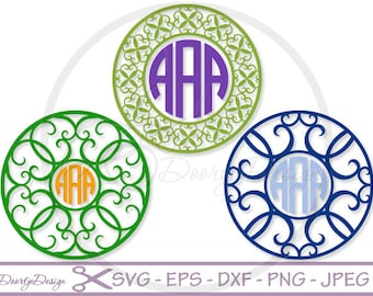 Circle Monogram SVG files for cutting machines, SVG files monogram Curly for Cricut, DXF files, Vector designs silhouette, cut file