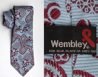 10% Off Mens Vintage 70s Baby Blue Maroon Paisley Psychedelic Necktie Neck Tie Wide