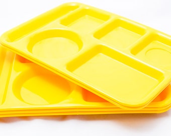 Set of 5 Vintage Yellow SiLite Lunch Trays