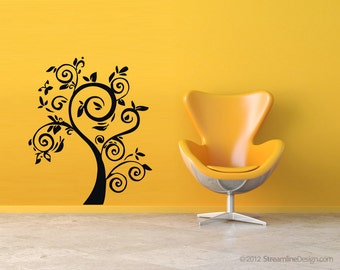 rvz039 Wall Vinyl Sticker Decals Kids Beautifull Funny Tree Flowers