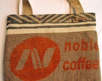 Hessian Beach Bag, Handmade using 100% recycled fabrics and fully lined.  The perfect, practical eco-chic accessory.