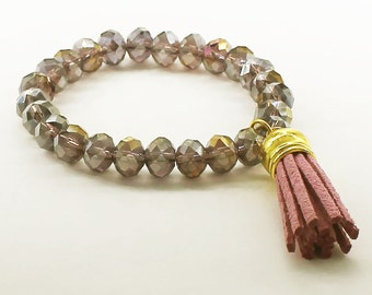 Metallic Purple Chinese Crystal Stretch Bracelet with Pink Suede Tassel