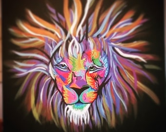 Multicolor Lion Painting
