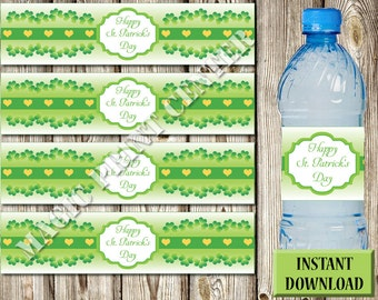 Water Bottle Labels-Happy St. Patrick's Day- INSTANT download - DIY-Printable- Holiday Wrappers-Green-Shamrock