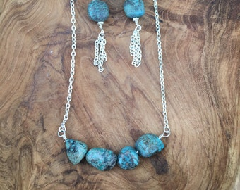 Turquoise Chunk necklace and earring set
