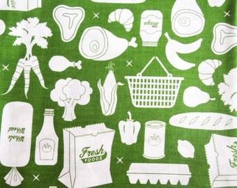 Suburbia Grocery Green by Caleb Gray Studio for Robert Kaufman 1 Yard