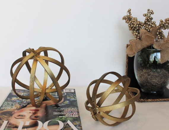 Decorative orbs set of with metal hardware for any rustic
