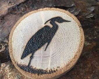 Heron wood burned design magnet