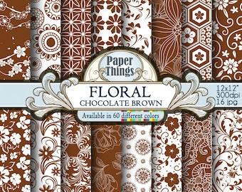 Chocolate Brown Flower Digital Paper, Brown Floral Shapes - Digital Chocolate Brown Pattern Scrapbook Background