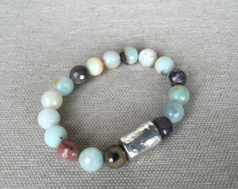 Beaded Bracelet with Silver Barrel