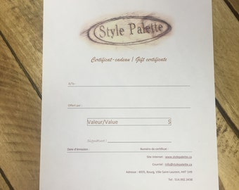 Certificate gift Style Palette