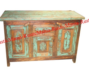 Rustic Reclaimed Wood Green Wash Bathroom Vanity (6163)