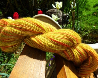 Handspun yarn Alpaca and Silk - 94 grams - blend of orange, yellow and olive green