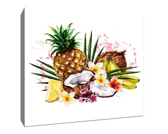Tropical Fruit, Tropical Watercolor Gallery-Wrapped Canvas