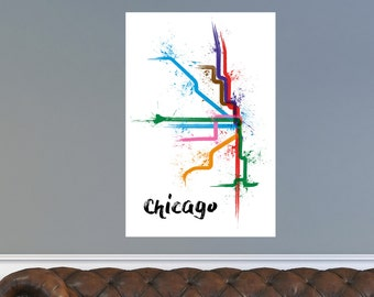 Chicago Train Map Poster