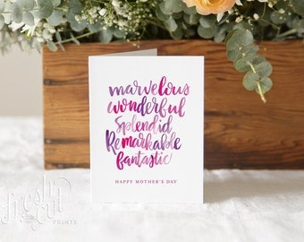 Mother's Day Card - Sentimental - Watercolor Hand Lettering - Card for Mom - Happy Mothers Day - Greeting Card - Hand Lettered Card - Pink