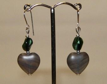 Glass heart sterling silver earrings