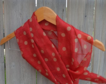 Red Polka Dot Scarf - Chiffon Scarf, Gifts Ideas For Her, Spring Summer Fall
